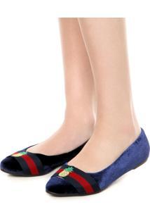 Sapatilha Dafiti Shoes Veludo Bordado Azul