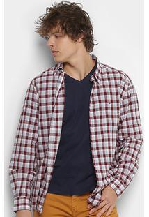 Camisa Xadrez Ellus Masculina - Masculino-Bordô