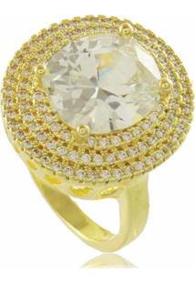 Anel Oval Branco Com Mini Zircônias Cravejadas 3Rs Semijoias Dourado - Kanui