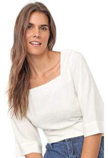 Blusa Linho Cantão Decote Quadrado Off-White