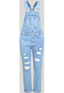 Macacão Jeans Feminino Relaxed Rasgos Vintage Jeans Medio Marmorizado