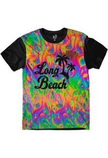 Camiseta Long Beach Ilusão 1 Sublimada Masculina - Masculino-Verde+Preto