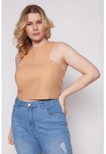 Blusa Kayla Plus Size Almaria Lordelo Liso Feminina - Feminino-Caramelo