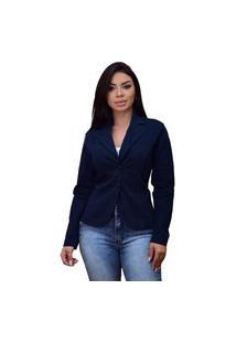 Blazer Em Sarja Ornaly Básico Azul Marinho