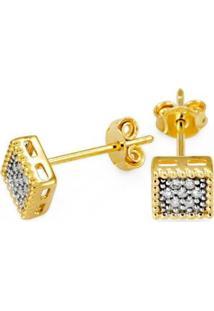 Brinco Em Ouro Galeria Quadrada Com 14 Brilhantes - Br18006 Casa Das Alianças Feminino - Feminino-Dourado