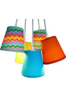 Luminária Cacho Chevron 5 Cúpulas Crie Casa Colorido