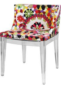 Poltrona Mademoiselle Transparente Tecido Floral B - 14088 - Sun House