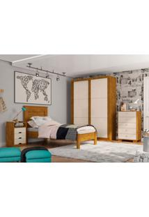 Dormitório Solteiro Monica Nature Off White Madeirado Robel Móveis