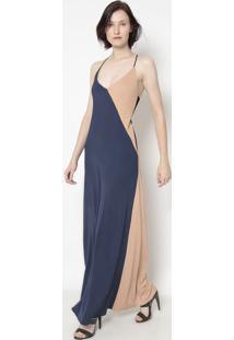 Vestido Com Amarração- Azul Marinho & Bege- Cotton Ccotton Colors Extra