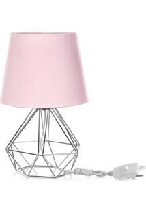 Abajur Diamante Dome Rosa Com Aramado Cromado