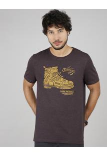 "Camiseta Masculina ""The Mountains"" Manga Curta Gola Careca Vinho"