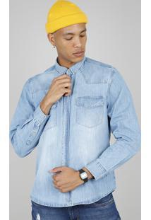 Camisa Jeans Masculina Com Bolsos Manga Longa Azul Claro