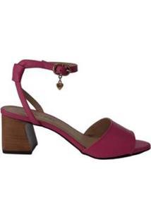 Sandália Couro Sapatos E Botas Salto Bloco Médio Feminino - Feminino-Pink
