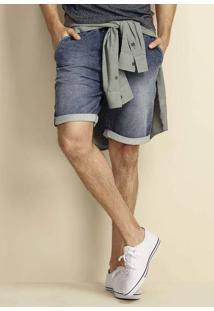 Bermuda Jeans Moletom Denim Em Modelagem Jogger