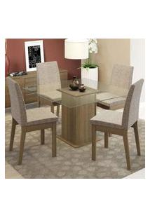 Conjunto Sala De Jantar Madesa Luma Mesa Tampo De Vidro Com 4 Cadeiras Rustic/Fendi
