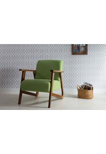 Poltrona Para Quarto - Poltrona Individual De Madeira Estofada Cor Verde - Verniz Capuccino \ Tec.942 - Lis 72X81X81 Cm