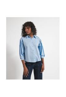 Camisa Manga Longa Bufante Com Pregas Em Tricoline | Marfinno | Azul | Pp