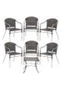 Jogo Cadeiras 6Un E Mesa De Centro Floripa Para Edicula Jardim Area Varanda Descanso - Tabaco