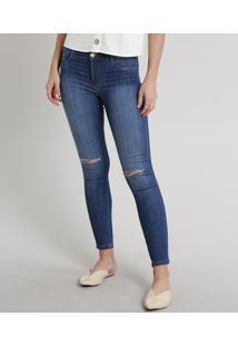 Calça Jeans Feminina Super Skinny Com Rasgos Azul Escuro