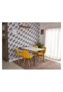 Conjunto De Mesa Dobrável Retrátil 1,40 Branco/Noronha + 4 Cadeiras Botonê - Amarela
