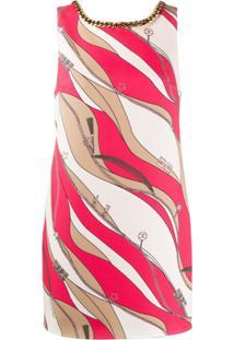 Elisabetta Franchi Vestido Estampado Com Acabamento De Corrente - Vermelho