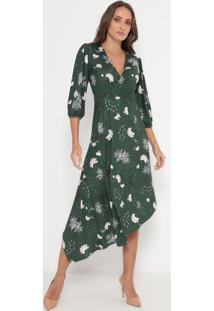 Vestido Mídi Floral- Verde & Rosa Claro- My Favoritemy Favorite Things