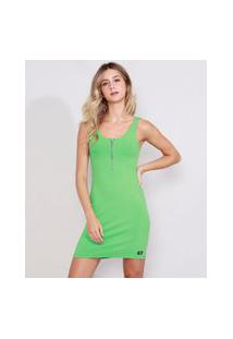 Vestido Feminino Curto Alça Média Decote Redondo Com Zíper Verde