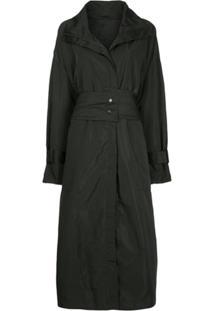 Taylor Trench Coat Com Zíper - Preto