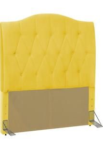 Cabeceira Cama Box Solteiro 90 Cm Colônia Corino Amarelo - D'Monegatto