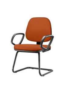 Cadeira Job Com Bracos Fixos Assento Crepe Laranja Base Fixa Preta - 54551 Laranja