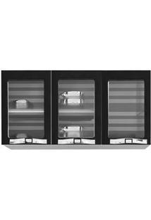 Armário Colormaq Class Slim Ap3Pv Com 3 Portas Com Vidro - Preto