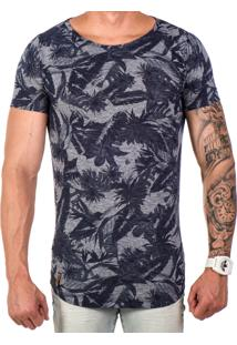 Camiseta Lucas Lunny Oversized Longline Estampa Marinho