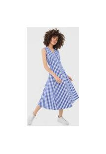 Vestido Polo Ralph Lauren Midi Xadrez Branco/Azul