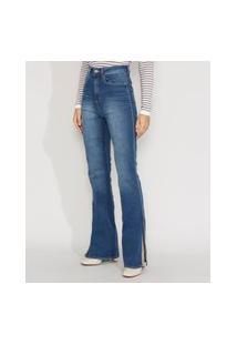 Calça Jeans Feminina Cintura Alta Flare Com Fenda Azul Médio
