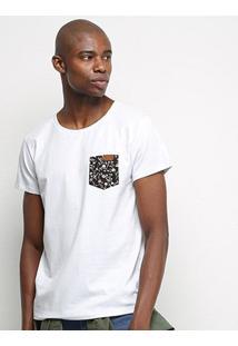 Camiseta Coca-Cola Bolso Floral Masculina - Masculino-Branco