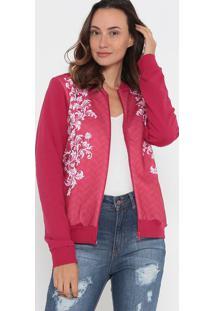 Jaqueta Em Moletom- Pink & Branca- Malweemalwee