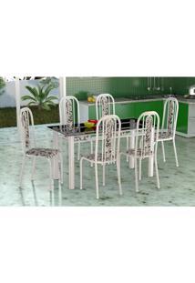 Conjunto De Mesa Com 6 Cadeiras Granada Branco E Preto