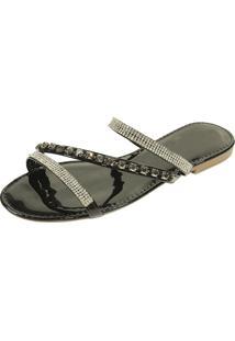 Rasteira Hope Shoes Pedraria Preta
