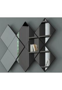 Espelho Losango 3D 127 Cm 100% Mdf Tb83 Preto Brilho - Dalla Costa