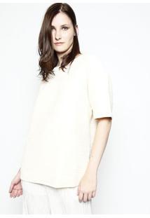 Blusa Texturizado Em Tricô- Bege Claro- Tritontriton