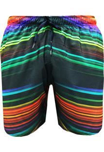 Shorts Elástico Alkary Listras Multicoloridas.
