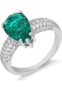 Anel Com Gota Verde Fusion Cravejado De Zircônias Folheado Em Ródio Branco - 1140000001019 14