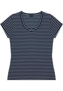 Blusa Básica Listrada Feminina Azul