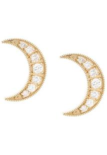 Andrea Fohrman Par De Brincos De Lua Em Ouro Amarelo 18K Com Diamante - Dourado
