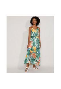 Vestido Feminino Longo Estampado De Frutas Com Recortes E Argolas Alça Média Verde Claro