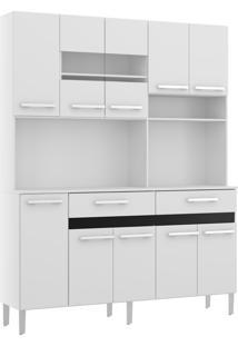 Armário P/ Cozinha 10 Portas 2 Gavetas Compacta Decibal Moveis Branco/Preto