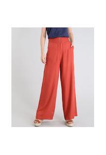 Calça Feminina Pantalona Com Pesponto Laranja