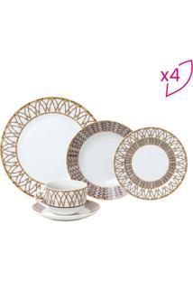 Aparelho De Jantar Bamboo- Branco & Dourado- 20Pã§S