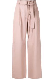 Boss Calça Pantalona De Couro - Rosa