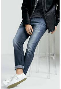 Calça Jeans Masculina Skinny Em Algodão Com Destroyed